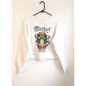 Vtg 80s White Grunge Cropped Oversized Sweatshirt